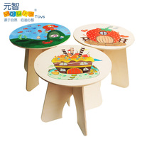 Wooden child doodle painting tools small round table wool puzzle fun table baby diy toys