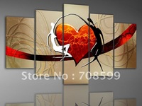 hand-painted oil wall art Lovers dance color bridge home decoration abstract Landscape oil painting on canvas 5pcs/set mixorde