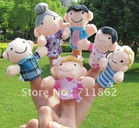free shipping Cartoon Plush Family Puppet / Baby Plush Toy/Finger Puppets 6pcs/lot mixed type