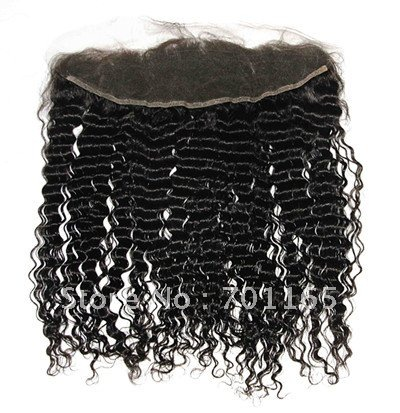 "Free Shipping! Wholesale 16"" inch natural color Chinese virgin human hair kinky curl lace frontal lace pieces 13*3''(China (Mainland))"