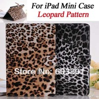 New hot! High Qaulity Leopard Pattern Case for iPad mini,  PU leather Magnetic Stand Cover for iPad Mini, free shipping