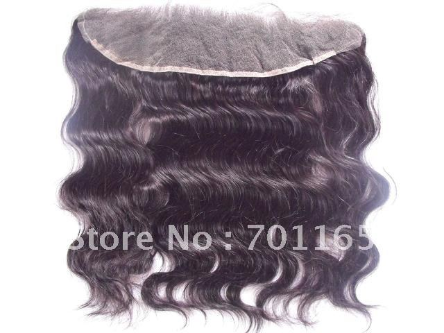 "Free Shipping! Wholesale 22"" inch 1b# Brazilian virgin human hair body wave lace frontal lace pieces 13*8''(China (Mainland))"