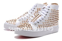New arriving men full white  lace-up flat shoes with long spike gold rivets free shipping