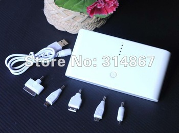 Free shipping manufacturer portable 18000mA power bank battery + 8 connectors For ipod ipad iPhone Nokia Samsung Blackberry etc