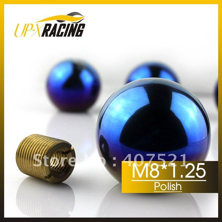 M8*1.25 hotsale 46mm auto titanium gear shift knob CNC grill bule titanium color burnish shift knob(China (Mainland))