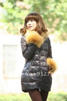 Sexy fashionable woman down winter guard coat