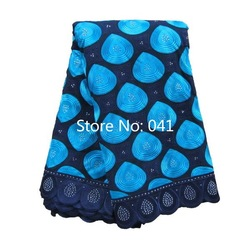 High Quality Swiss voile lace EA041 Navy Blue + Turquoise, Free Shipping(5 yards/pack), 100%cotton African lace(China (Mainland))