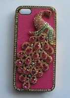 Free USPS/SINGPOST bling bling diamond rehinestone peacock chorme plated PU leather case cover for iphone 5 5s 5c