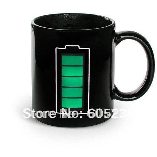 Pieces lot animated battery coffee mug battery color changing mug