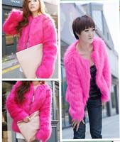 Free shipping Fur coat autumn and winter fashion long-sleeve collarless fur female