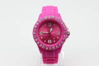 DHL/UPS Free Shipping good quality fashion silicone rhinestone wrist watches colorful four number watch,100pcs/Lot