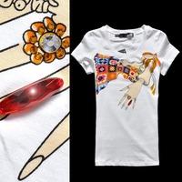 FASHION desinger 2011 mos diamond ring rhinestones figure graphic patterns slim short-sleeve T-shirt 12079-j