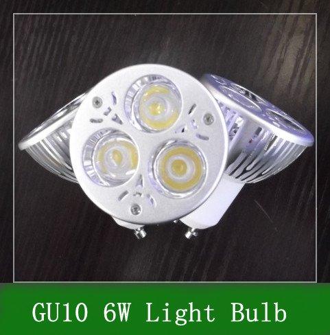 Free Shipping 20pcs GU10 6W dimming high power led spotlight ,dimmable led bulbs light 3*2w led lamp(China (Mainland))