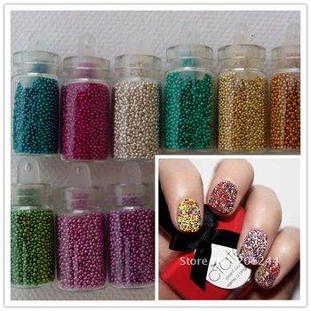 5set/Lot + Free Shipping,Wholesale 12 Color Tiny Circle Bead Decoration 3D Nail Art Beads Caviar Nail Art Bottle Set