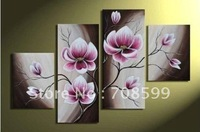 hand-painted Beautiful Purple flower High Q. Home Decoration Modern Landscape Oil Painting on canvas 4pcs/set mixorde