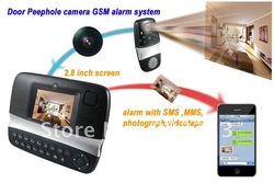 Newest home security 2.8 TFT LCD Video Door Bell & SMS MMS GSM Alarm System with photograph and videtape 2 in 1 free shipping(China (Mainland))