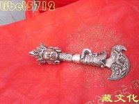 19 cm length Tibetan Buddhist bronze coated silver Buddhist Tibet Dorje Phurba statue