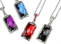 Free Shipping Jewelry Gem usb drive 4gb/8gb/16gb/32gb USB 2.0 Flash Memory  Crystal Necklace Pen Drive Real capacity