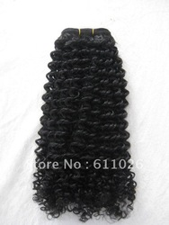 "free shipping, qingdao wig factory bottom price, 20"", #1B, curly, 100% Indian remy hair machine made weft(China (Mainland))"