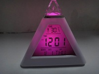 Free shipping  7 LED Color Pyramid Digital LCD Alarm Clock Thermometer+Retail  made in jiangxi