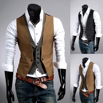 Free Shipping Fashion Men's Suit Vest Casual Top Slim & Fit Luxury business Dress Vest for men 3 buttons Black/brown wholesale