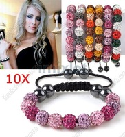 Браслет из бисера lots 11X Crystal Bead Disco Ball Macrame Braid String Shamballa Bracelets