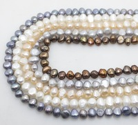 wholesale 5strands white pink gray black brown pearl loose beads gem pearl size:6-7mm 16''