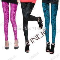 Fashion Women's Diamond Velvet Sexy Soft Stretch Leggings Slim Fit Pants Sheer 5 colors free shipping 5221