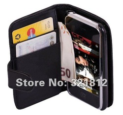 Wallet leather credit ID card purse for Apple iphone 3 3g 3gs PU leather book White clip belt pouch pouches case cheapest 1pcs(China (Mainland))