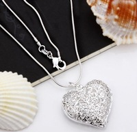 wholesale 925 Silver fashion hollow heart Necklace Free shipping