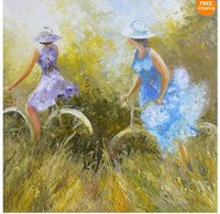 art: quality original oil painting on canvas SUMMER ENTERTAINMENT