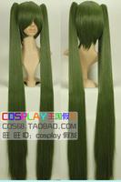 Book chokecherry miku green gradient color double cos wig