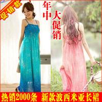 New summer 2014 bohemia chiffon beach dress tube top bohemia one-piece dress summer dress sleeveless free shipping