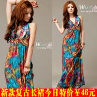 2014 viscose bohemia peacock flower full suspender beach dress women summer dress free shipping