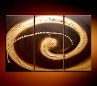 Chocolate swirl - High quality 100% Handicraft huge wall 3 panel Combination oil painting