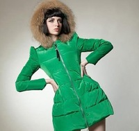 Cute Noverty Korean High Quality Medium-long Fashion Ladies' Down Jacket/ Garment With Fur Collar