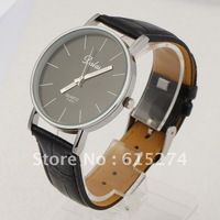 FREE SHIPPING CASUAL MEN'S COOL ANALOG QUARTZ BIG DIAL CLOCK WHITE PU LEATHER MEN WRIST WATCH BLACK