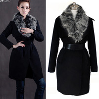 2013 slim cotton-padded jacket outerwear fur collar wadded jacket cotton-padded jacket women's medium-long Free shipping