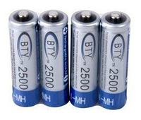 4 x BTY 1.2v AA 2500mAh Rechangeable Flashlight Ni-MH NiMH Camera Recharge Battery