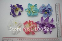 Hot-Sale Stripe Cotton Different Colour Flower With Metal Hairclip Chinese style for Kids Hair Accessory