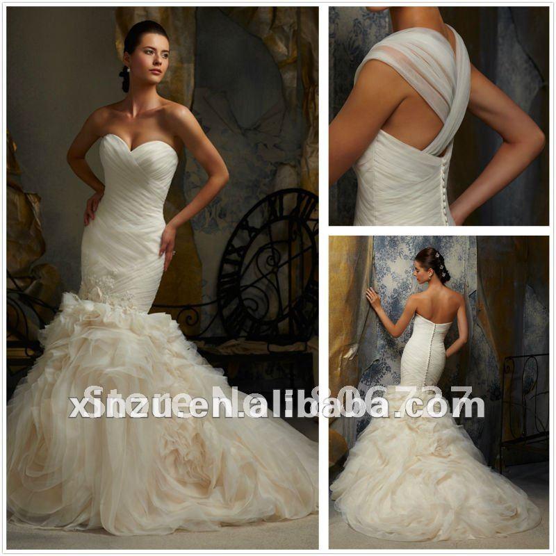 Low Back Mermaid Wedding Dress : Gorgeous ruffled organza low back mermaid wedding dress g