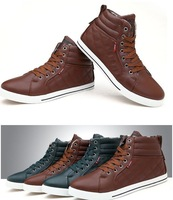 New Mens Fashion High Rise Warm Sneakers Lace Up Ankle Boots Flats Shoes Preppy