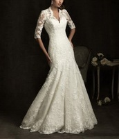 2013 New Fashion V-neck Mermaid Long sleeve Lace Royal Wedding Dresses KD2013