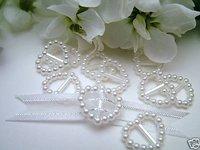 200  Pearl Ribbon Buckles/Sliders Heart Shaped White