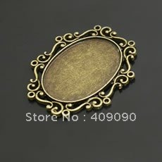 MOQ $30,Free shipping ,10pcs/lot 40*33MM-30*22MM Antiqued Bronze Necklace Cabochon Base Setting ,Pendant Tray(China (Mainland))