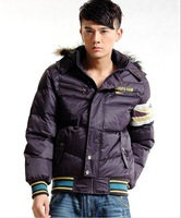Free shipping Fashion High quality Mens Luxury casual thicken Hoodies Duck Down Winter jacket Outwear with Fur Collar,2 color
