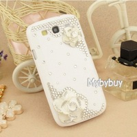 Handmade 3D Camellia Flower Diamond Bling Case For Samsung Galaxy S3 i9300. IP6123