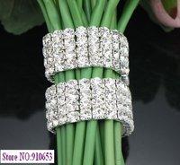 1 Pc 4 Rows Rhinestone Bouquet Bracelet Wedding Flower Stem Decoration (1646)