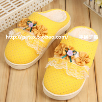 3 thermal cotton-padded slippers household shoes at home slippers women's autumn and winter paillette lace flower