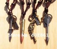 Christmas gift Vintage Handmade 100% genuine leather sniper gun bullet dagger arrow pendant necklace punk Mix orde 10pcs